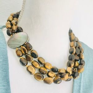 Hand crafted Tigers Eye Multi Strand Necklace